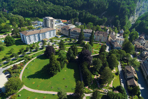 Aerial view of Grand Hotel Quellenhof Health Spa and Golf Resort.