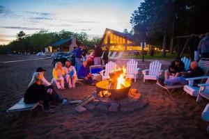 Beach bonfire at Grand View Lodge.