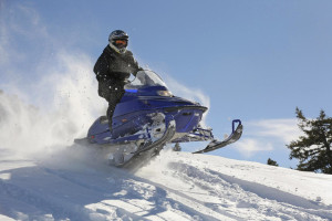 Snowmobiling at Brindley's Harbor Resort.