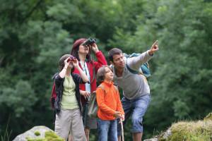 Family bird watching at Stowe Mountain Lodge.