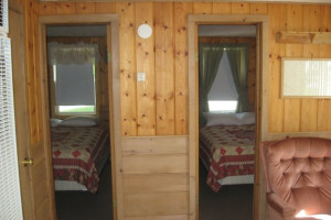 Cabin bedrooms at Wil-O-Wood Resort.