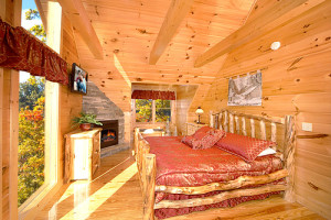 King bedroom at Alpine Mountain Chalets.