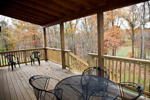Deck with a view at Big Creek Cabins.
