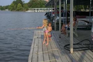Kid's fishing at Malcolm Creek Resort & Marina.