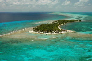 Aerial view of Long Caye at Glover's Reef.