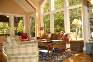 Living Room in Cabin at Foscoe Rentals