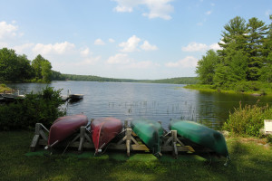 Canoes at Inn At Lake Joseph.