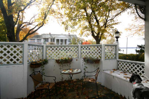 Private patio at Eleven Gables Inn on the Lake.