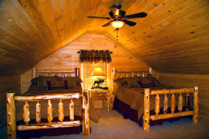 Chalet bedroom at Highland Marina Resort.