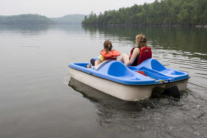 Paddle boat on lake at Fiddler Lake Resort.