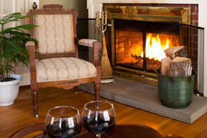 Relaxing by the fire at Eagles Mere Inn.