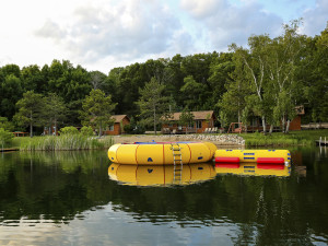 Water trampoline at Pine Terrace Resort.
