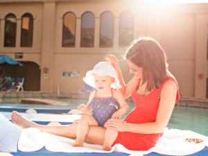 Family by the pool at Tanglewood Resort and Conference Center.