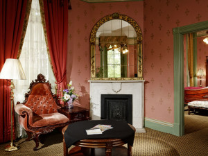 Sitting area inside the Governor's Suite at the 1886 Crescent Hotel & Spa.  2 King Room suite.