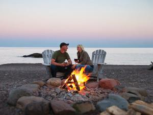 Romantic bonfire at Lutsen Resort on Lake Superior.