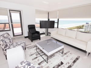 The Alexander rental living room at HORA Vacation Rentals.