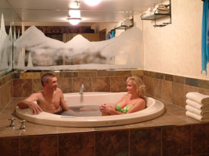 Relaxing in hot tub at Douglas Fir Resort & Chalets.