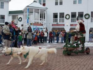 Santa visiting Waterville Valley Resort.