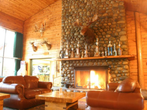 Lodge fireplace at Northern Outdoors.