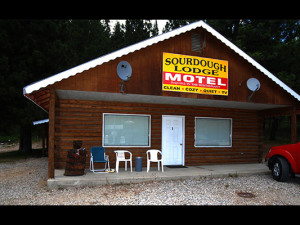 Motel exterior at Sourdough Lodge.