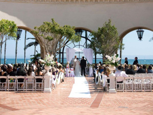 Wedding ceremony at Fess Parker's Doubletree Resort.