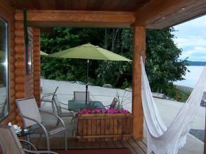 Patio view at Shady Shores Beach Resort.