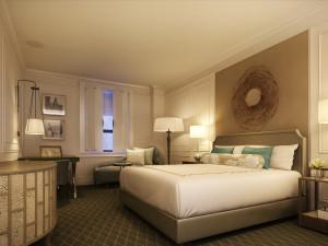Guest room at Fairmont Le Chateau Frontenac.