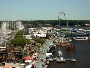 View of lake and amusement park at Indiana Beach Amusement Resort.