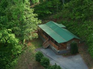 Aerial view of Big Bear Log Cabins.