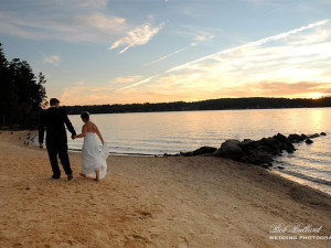 Wedding couple on beach at The Margate on Winnipesaukee.