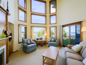 Guest living room at Glidden Lodge Beach Resort.