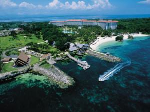 Aerial view of Shangri-La's Mactan Island Resort.