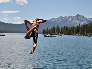 Jumping into the lake at Redfish Lake Lodge.