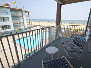 Deck view from Flagship Oceanfront Hotel Ocean City.