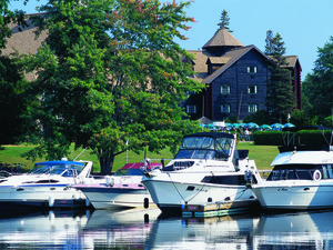 Boats at Fairmont Le Chateau Montebello.