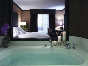 Jacuzzi suite at Grand Bohemian Hotel Orlando.