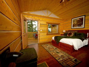 Cabin bedroom at The Wilderness Way Adventure Resort.