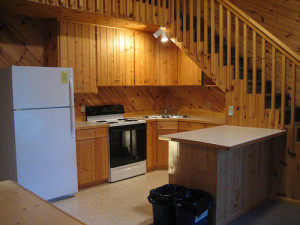Cabin kitchen at Lakecrest Resort.