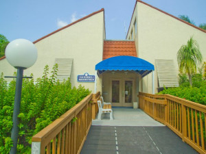 Exterior view of Sanibel Moorings Condominiums.