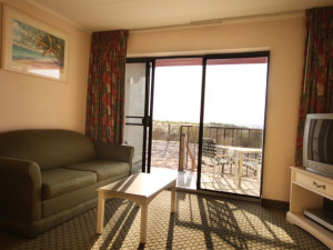 Guest room living area at Quality Inn Oceanfront Ocean City.