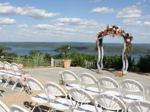 Wedding ceremony at Whitney Mountain Lodge.