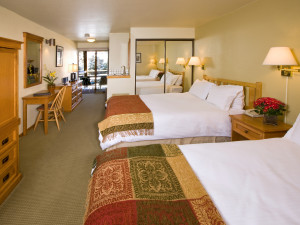 Two bed guest room at Aspen Mountain Lodge.