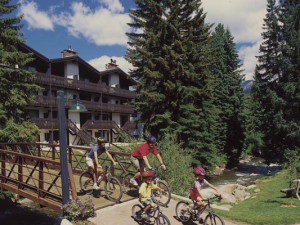 Family biking at Vail Racquet Club.