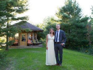 Wedding couple at Door County Cottages.
