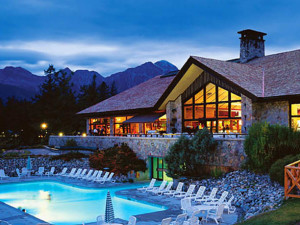 Outdoor pool at The Fairmont Jasper Park Lodge.