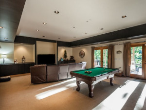 Cabin game room at Mountain Oasis Cabin Rentals.