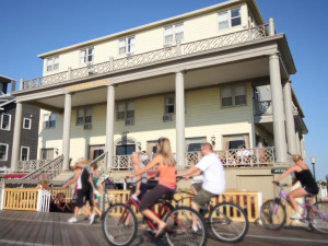 Bike rental on the boardwalk near Harrison Hall Hotel Ocean City.
