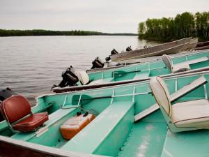 Boats at Uchi Lake Lodge.
