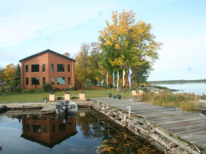 Exterior view of Sandy Point Lodge.