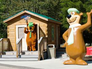 Cabin exterior at Jellystone Park at Lake Monroe.